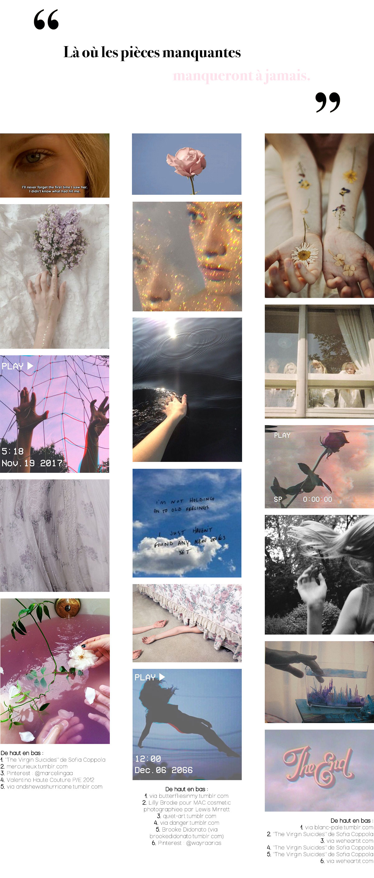 "Inspirations Pinterest #8 : Comme un film (moodboard inspiré du film ""The Virgin Suicides"")"