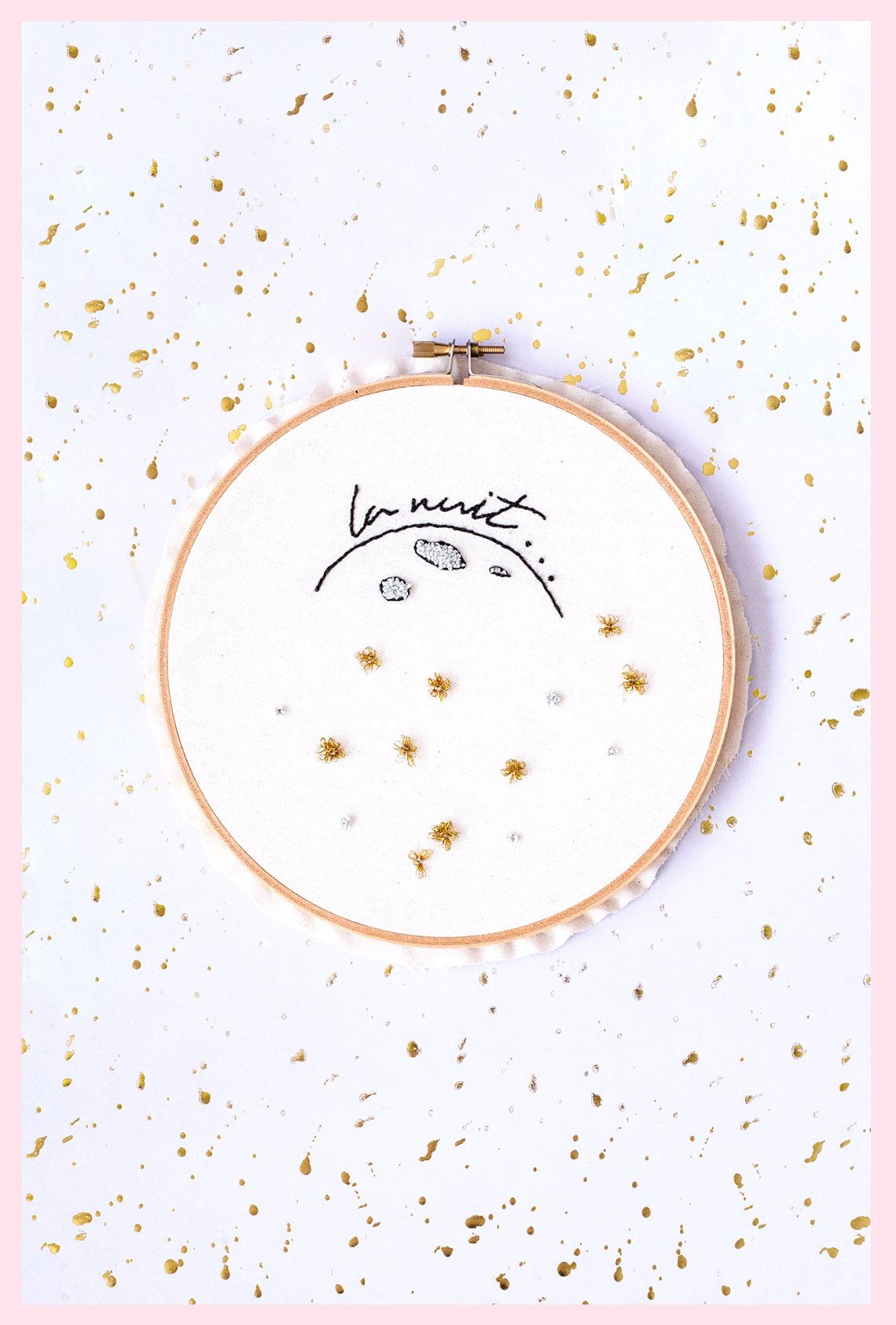 DIY : Broderie punch needle « La nuit » (+ motif à télécharger)